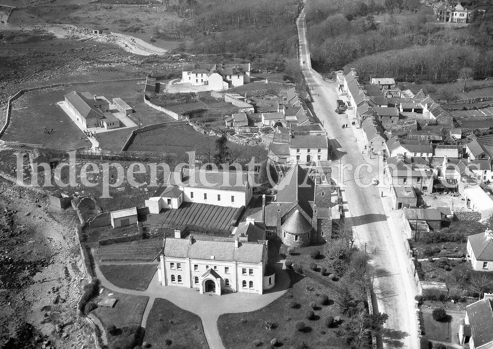 A408 Spiddal.   30/09/55 (Part of the Independent Newspapers Ireland/NLI collection.)<br /> <br /> <br /> These aerial views of Ireland from the Morgan Collection were taken during the mid-1950's, comprising medium and low altitude black-and-white birds-eye views of places and events, many of which were commissioned by clients. From 1951 to 1958 a different aerial picture was published each Friday in the Irish Independent in a series called, 'Views from the Air'.The photographer was Alexander 'Monkey' Campbell Morgan (1919-1958). Born in London and part of the Royal Artillery Air Corps, on leaving the army he started Aerophotos in Ireland. He was killed when, on business, his plane crashed flying from Shannon.