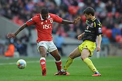Bristol City's Mark Little closes down Walsall's Andy Taylor - Photo mandatory by-line: Dougie Allward/JMP - Mobile: 07966 386802 - 22/03/2015 - SPORT - Football - London - Wembley Stadium - Bristol City v Walsall - Johnstone Paint Trophy Final