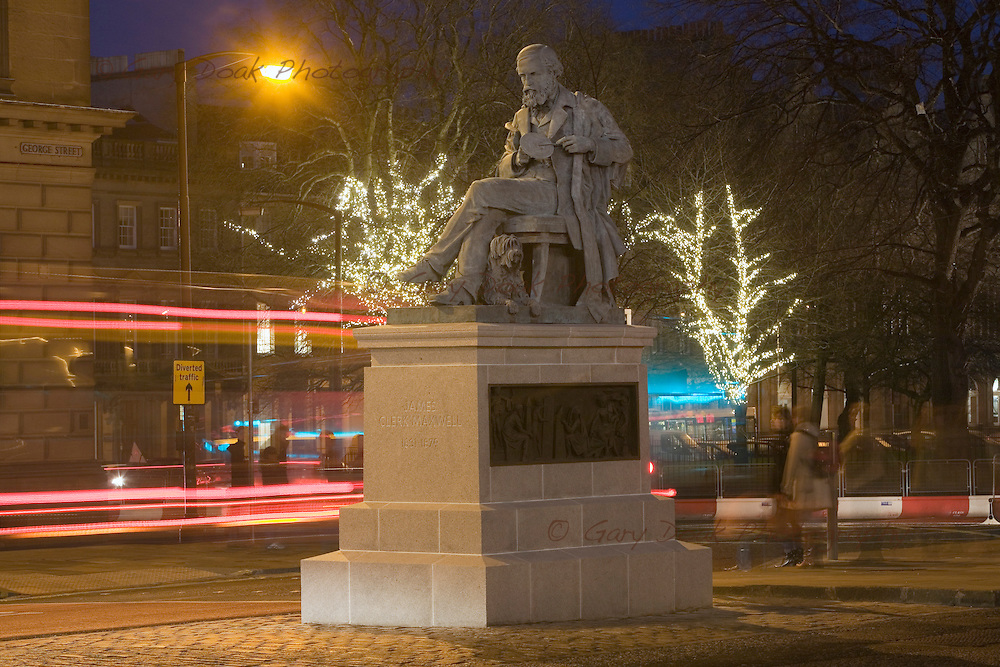 The James Clerk Maxwell statue at the east end of George St, Edinburgh.