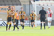 Greg Taylor celebrates his goal during the EFL Sky Bet League 2 match between Cambridge United and Cheltenham Town at the Cambs Glass Stadium, Cambridge, England on 21 April 2018. Picture by Antony Thompson.