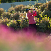 28 March 2018: Georgia Lacey tees off on the ninth hole during the final round of match play against UCLA at it's annual March Mayhem Tournament at the Farms Golf Club in Rancho Santa Fe, California.<br /> More game action at sdsuaztecphotos.com