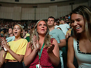 Students sing the alma mater during the 2019 First Year Convocation. Photo by Hannah Ruhoff