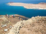 La Graciosa island and El Rio channel,  Chinjo archipelago natural park, Lanzarote, Canary Islands, Spain view from El Mirador del Rio