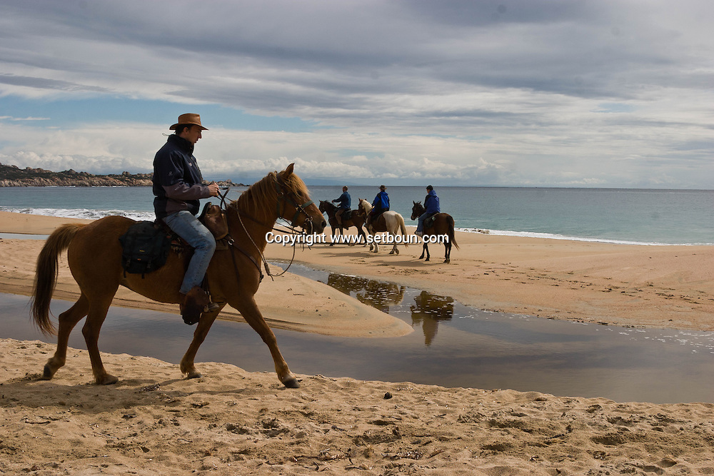 Corsica. France. Horse riding around Tradicetto beach ,  Corsica south  France /   randonnee a cheval campagne de Tradicetto,   Corse du sud  France