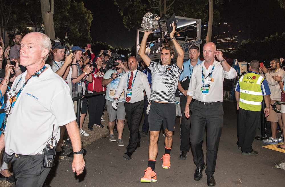 Roger Federer of Switzerland behind the scenes after the men's final on day fourteen of the 2017 Australian Open at Melbourne Park on January 29, 2017 in Melbourne, Australia.<br /> (Ben Solomon/Tennis Australia)
