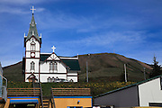 Iceland, Husavik, a fishing village and a centre of whale watching in northern Iceland. The wooden church built in 1907