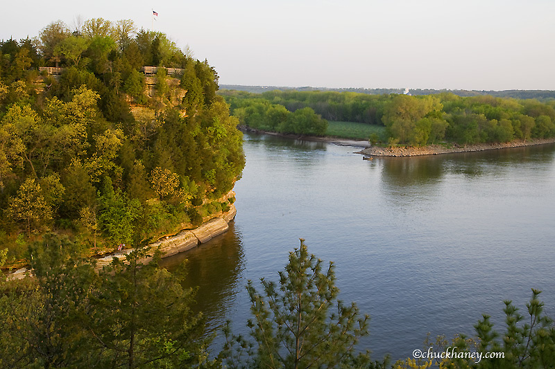 Starved Rock overlooks the Illinois River at Starved Rock State Park in Illinois
