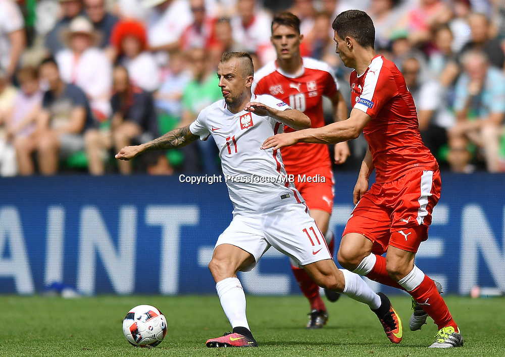 2016.06.25 Saint-Etienne<br /> Pilka nozna Euro 2016<br /> mecz 1/8 finalu Szwajcaria - Polska<br /> N/z Kamil Grosicki<br /> Foto Lukasz Laskowski / PressFocus<br /> <br /> 2016.06.25<br /> Football UEFA Euro 2016 <br /> Round of 16 game between Switzerland and Poland<br /> Kamil Grosicki<br /> Credit: Lukasz Laskowski / PressFocus