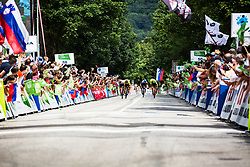 Giovanni Visconti (ITA) of Neri Sottoli Selle Italia KTM , Tadej Pogacar (SLO) of UAE Team Emirates sprinting to the finish line 4th Stage of 26th Tour of Slovenia 2019 cycling race between Nova Gorica and Ajdovscina (153,9 km), on June 22, 2019 in Slovenia. Photo by Vid Ponikvar / Sportida