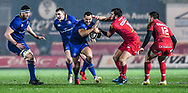Leinster's Dave Kearney is tackled by Scarlets' Dan Jones<br /> <br /> Photographer Craig Thomas/Replay Images<br /> <br /> Guinness PRO14 Round 17 - Scarlets v Leinster - Friday 9th March 2018 - Parc Y Scarlets - Llanelli<br /> <br /> World Copyright © Replay Images . All rights reserved. info@replayimages.co.uk - http://replayimages.co.uk