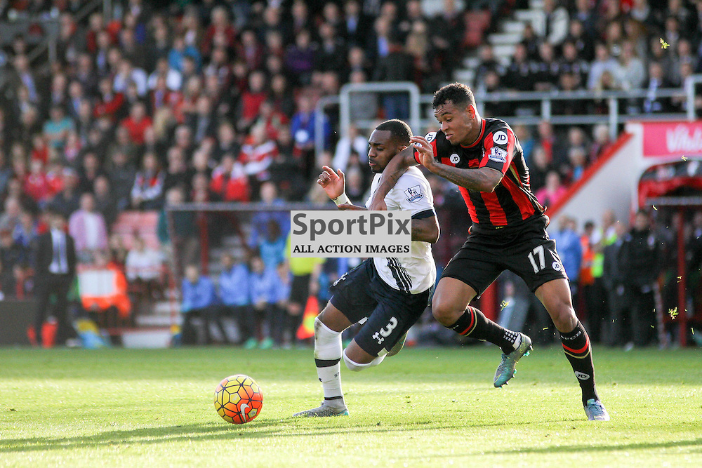 Danny Rose tries to wiggle away from Joshua King During Bournemouth vs Tottenham Hotspur on Sunday 25th of October 2015.