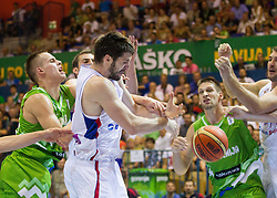 Klemen Prepelic of Slovenia vs Stefan Markovic of Serbia during friendly match between National teams of Slovenia and Serbia for Eurobasket 2013 on August 3, 2013 in Arena Zlatorog, Celje, Slovenia. (Photo by Vid Ponikvar / Sportida.com)