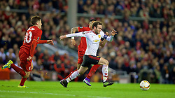 LIVERPOOL, ENGLAND - Thursday, March 10, 2016: Manchester United's Juan Mata in action against Liverpool during the UEFA Europa League Round of 16 1st Leg match at Anfield. (Pic by David Rawcliffe/Propaganda)
