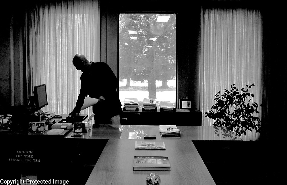 Santa Cruz County Treasurer Fred Keeley works in his office in the county Government Center in Santa Cruz, California on Monday April 15 after announcing he will not be running for re-election.<br />.Photo by Shmuel Thaler/Santa Cruz Sentinel