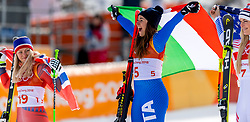 21-02-2018 KOR: Olympic Games day 12, PyeongChang<br /> Ladies Downhill at Jeongseon Alpine Centre / Silver medal for Ragnhild Mowinckel, of Norway, gold for Sofia Goggia, of Italy and bronze Lindsey Vonn, of the United States,