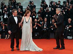 September 2, 2017 - Venice, Italy - Julianne Moore, Matt Damon and George Clooney walks the red carpet ahead of the 'Suburbicon' screening during the 74th Venice Film Festival  in Venice, Italy, on September 2, 2017. (Credit Image: © Matteo Chinellato/NurPhoto via ZUMA Press)