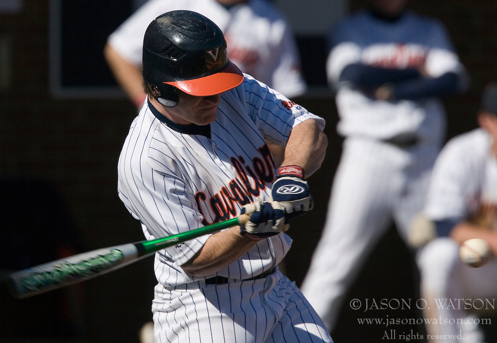 Virginia Cavaliers outfielder Brandon Marsh (9) in an at bat against Bucknell.  The Virginia Cavaliers Baseball Team defeated the Bucknell University Bisons 3-0 in the first game of a doubleheader at Davenport Field in Charlottesville, VA on February 24, 2007.