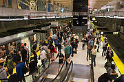 Commuters wait for trains during the evening commute in the Embarcadero Muni Metro Station. A Bart strike caused chaos for commuters coming in and out of San Francisco. AC Transit and San Francisco Bay Ferry managed the trans bay commutes, while Muni handled the dissplaced commuters within San Francisco. | July 2, 2013