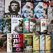 Periodicals, mostly of Che Guevara, for sale at the tourist store at the Bacunayagua Bridge over the Yumuri Valley on the Via Blanca highway in the province of Matanzas.<br />