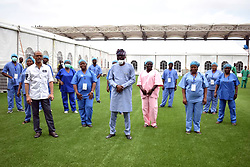 Nigeria- 29.04.20 -  FILE PHOTO: Governor Babajide Sanwo-Olu opened the 110-bed space COVID-19 isolation centre inside Onikan Stadium, Lagos.;<br /> Confirmed cases of COVID-19 are dropping gradually in Lagos State compared to what was recorded last week. Nigerians had earlier raised the alarm over the rising profile of COVID-19 cases in the country, particularly in Lagos. Between April 19 – 24, 2020; Lagos state had recorded 361 cases of coronavirus, a figure, which caused fears among the people. Breakdown of the number of confirmed cases include: 70 cases confirmed on April 19; 59 on April 21; 74 on April 22; 78 on April 23 and 80 on April 24, 2020. The number, however, began to reduce gradually from April 25, 2020 when the figure dropped to 33 cases. It went a little higher on April 26 with 43 cases while it further dropped to 34 on Monday, April 27, 2020.  Picture: AFRICAN NEWS AGENCY (ANA)