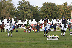 Podium 7 years old horses <br /> Collett Laura, (GBR), Mr Bass, winner of the 7 years old horses , second Thomas Carlille, Upsilon, (FRA), third Vincent Martens, Eiskonig, (BEL)<br /> Mondial du Lion - Le Lion d'Angers 2015<br /> © Dirk Caremans<br /> 18/10/15