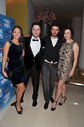 Left to right, SUSANNAH FIELDING, ZACH BRAFF, PAUL HILTON and EVE MYLES at an after show party following the opening night of All New People held at the St.Martin's Lane Hotel, London on 28th February 2012.