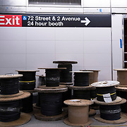 December 12, 2016 - New York, NY :  Cables for emergency lighting sit in spools in the 72nd Street Second Avenue subway station. After years of delays, the new subway line is preparing to welcome its first straphangers. CREDIT: Karsten Moran for The New York Times