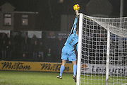 Newport County Goalkeeper Joe Day tips the ball over the bar during the EFL Sky Bet League 2 match between Newport County and Morecambe at Rodney Parade, Newport, Wales on 21 February 2017. Photo by Andrew Lewis.