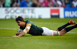 Lodewyk De Jager of South Africa scores a try - Mandatory byline: Patrick Khachfe/JMP - 07966 386802 - 19/09/2015 - RUGBY UNION - Brighton Community Stadium - Brighton, England - South Africa v Japan - Rugby World Cup 2015 Pool B.