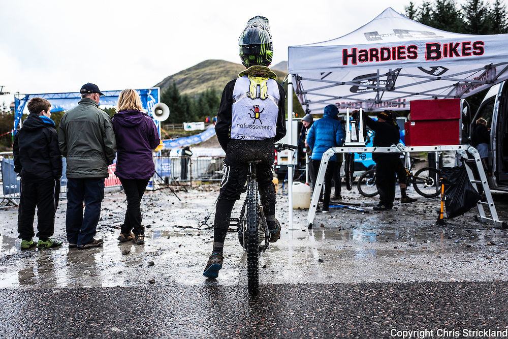 Nevis Range, Fort William, Scottish Highlands, UK. 25th September 2016. Gus Meldrum of Jedburgh after winning the SDA race finale on the Nevis Range course in the Scottish Highlands.