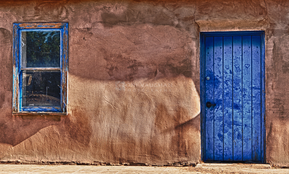 Blue door in vintage building found in historic Florence, Arizona