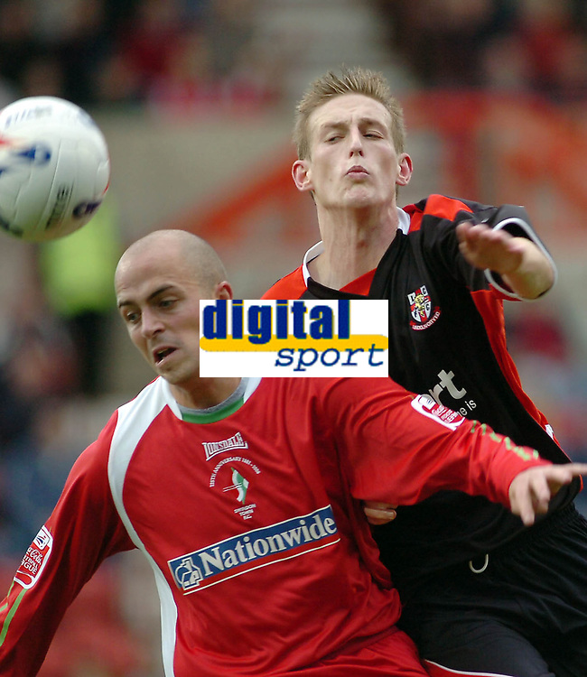 Photo: Kevin Poolman.<br />Swindon Town v Lincoln City. Coca Cola League 2. 28/10/2006. Swindon's Jack Smith and Lincoln's Jeff Hughes go after the ball.