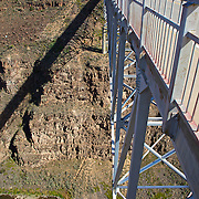 "Known locally as the ""Gorge Bridge,"" this cantilever truss structure is the fifth highest bridge in the United States.  Ten miles northwest of Taos, it rises 650 feet above the Rio Grande River, which flows at the bottom of an immense rock canyon."