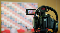 CARDIFF, WALES - Thursday, February 19, 2015: A television camera during a press conference as Wales women's manager names her squad for the 2015 Istria Cup at the FAW HQ in Cardiff. (Pic by Carl Robertson/Propaganda)
