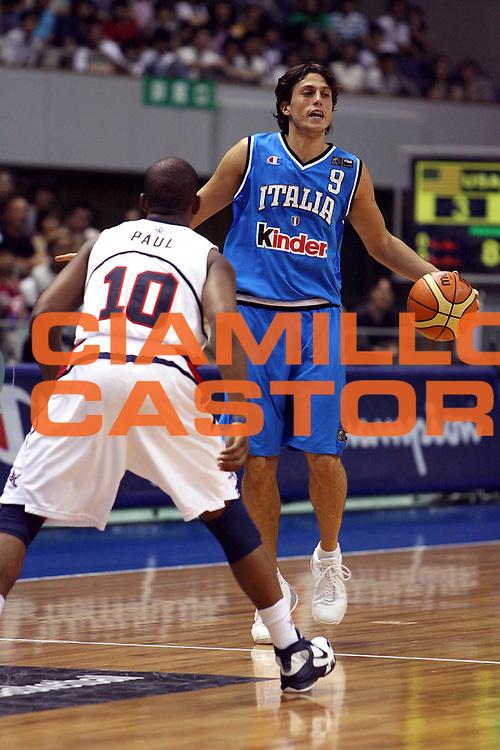 DESCRIZIONE : Sapporo Giappone Japan Men World Championship 2006 Campionati Mondiali Usa-Italy <br /> GIOCATORE : Mordente <br /> SQUADRA : Italy Italia <br /> EVENTO : Sapporo Giappone Japan Men World Championship 2006 Campionato Mondiale Usa-Italy <br /> GARA : Usa Italy Stati Uniti America Italia <br /> DATA : 23/08/2006 <br /> CATEGORIA : Palleggio <br /> SPORT : Pallacanestro <br /> AUTORE : Agenzia Ciamillo-Castoria/E.Castoria <br /> Galleria : Japan World Championship 2006<br /> Fotonotizia : Sapporo Giappone Japan Men World Championship 2006 Campionati Mondiali Usa-Italy <br /> Predefinita :