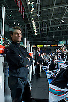 KELOWNA, CANADA - DECEMBER 2: Scott Hoyer, athletic therapist of the Kelowna Rockets stands on the bench on December 2, 2015 at Prospera Place in Kelowna, British Columbia, Canada.  (Photo by Marissa Baecker/Shoot the Breeze)  *** Local Caption *** Scott Hoyer;