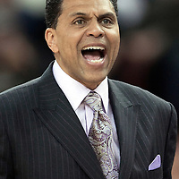 06 april 2008: Reggie Theus, head coach of the Sacramento Kings is seen during the Los Angeles Lakers 114-92 victory over the Sacramento Kings, at the Arco Arena, in Sacramento, California, USA.