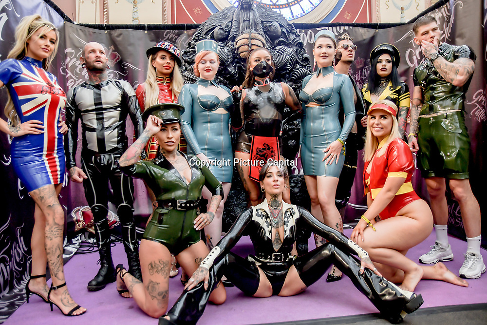 Designer Leanne Jane of Libidex showcases it latest collestion - Latex Fashion Show at The Great British Tattoo Show, on 26 May 2019, London, UK.
