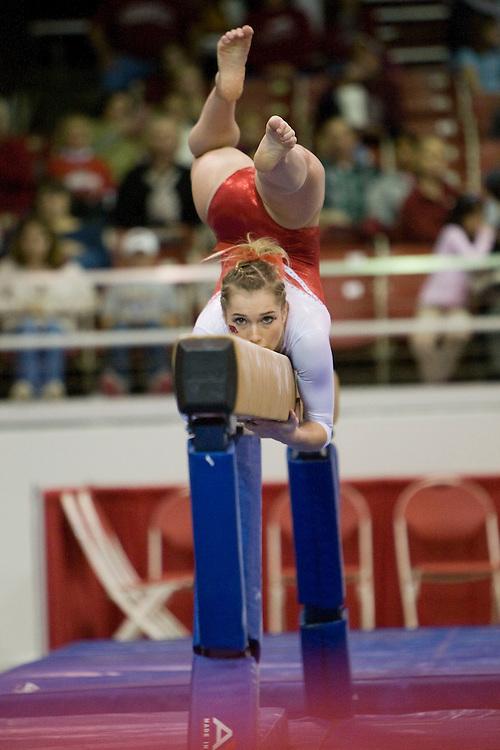 University of Arkansas Razorback Women's Gymnastics action photos during the 2008-2009 season in Fayetteville, Arkansas....©Wesley Hitt.All Rights Reserved.501-258-0920.