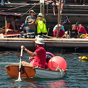 Tasmanian Gondala? cleans up at the end of the Quick 'n' Dirty Boat Race, Australian Wooden Boat Festival  (AWBF) 2013, Hobart, Tasmania