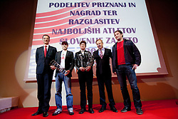 Mag. Igor Luksic, Minister of sport, best athletes Bostjan Buc and Martina Ratej, Peter Kukovica of AZS and Primoz Kozmus during the Slovenia's Athlete of the year award ceremony by Slovenian Athletics Federation AZS, on November 12, 2008 in Hotel Mons, Ljubljana, Slovenia.(Photo By Vid Ponikvar / Sportida.com) , on November 12, 2010.