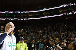 Richard Morgan Fliehr greats fans as he makes a surprise appearance during Wing Bowl 26, at the Wells Fargo Center in Philadelphia, PA, on February 2, 2018. The annual chicken wing eating contest is set two days before Super Bowl 52, where the Philadelphia Eagles will take on the New England Patriots.