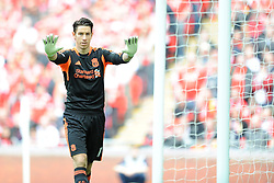 Brad Jones of Liverpool during the Budweiser FA Cup semi final match between Liverpool and Everton at Wembley on Saturday 14 April 2012 (Photo by Rob Munro)