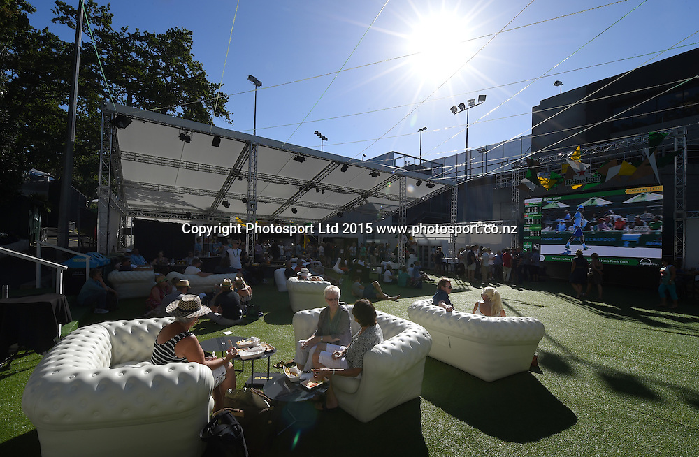 Tennis fans enjoy the Heineken Baseline hospitality area on Day 2 at the Heineken Open. Festival of Tennis, ATP World Tour. ASB Tennis Centre, Auckland, New Zealand. Tuesday 13 January 2015. Copyright photo: Andrew Cornaga/www.photosport.co.nz
