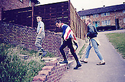Lee in Union Jack, Neville and Paul, Hawthorne Rd, High Wycombe, UK, 1980s.