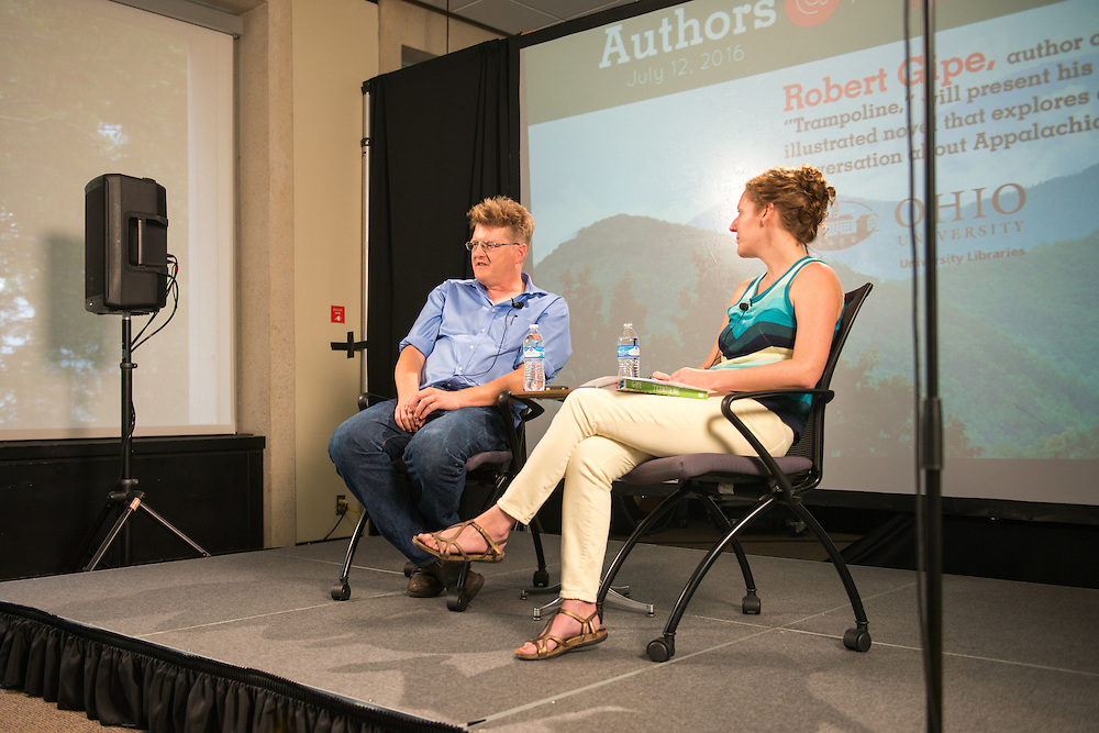 "Authors@Alden: Robert Gipe, author and illustrator of ""Trampoline."" Photo by Kaitlin Owens"