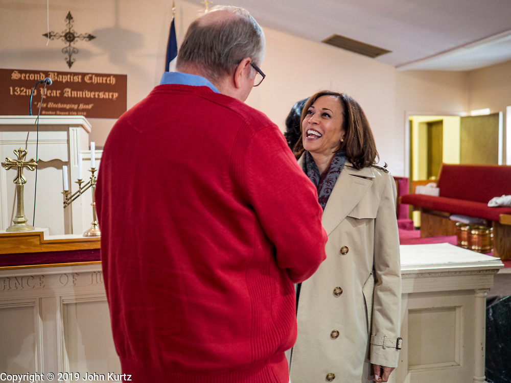 10 NOVEMBER 2019 - FT. DODGE, IOWA: US Senator KAMALA HARRIS (D-CA), left, greets congregants at 2nd Baptist Church before speaking at the church Sunday.  Sen. Harris taught a biblical lesson at 2nd Baptist Church in Ft. Dodge as a part of her campaign to be the Democratic nominee for the US presidency in 2020. Iowa traditionally holds the first selection of the presidential election cycle. The Iowa caucuses are Feb. 3, 2020.       PHOTO BY JACK KURTZ