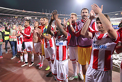 Guelor Kanga and other players of Crvena Zvezda after the football match between NK Crvena Zvezda Beograd and Arsenal FC in Group H of UEFA Europa League 2017/18, on October 19, 2017 in Stadion Rajko Mitic, Belgrade, Serbia. Photo by Marko Metlas / Sportida