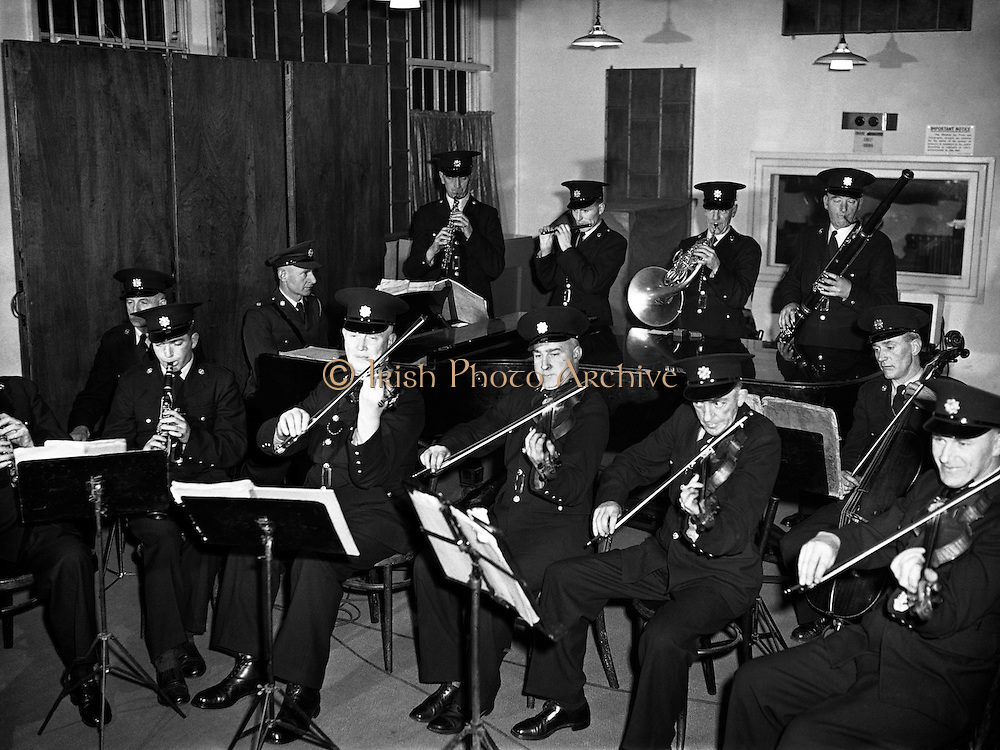 Garda Ceilidh Band - Special fo radio Review.31/01/1957..The Garda Band is a public relations branch of the Garda Síochána, and was formed shortly after the foundation of the force. It gave its first public performance on Dún Laoghaire Pier on Easter Monday, 1923. The first Bandmaster was Superintendent D.J. Delaney and he formed a céilí and pipe band within the Garda Band. In 1938, the Dublin Metropolitan Garda Band (based at Kevin Street) and the Garda Band amalgamated and were based at the Garda Headquarters in Phoenix Park..The band was disbanded in 1965. However to celebrate the 50th anniversary of the foundation of the Garda Síochána it was reformed in 1972..Besides providing music for official Garda functions (such as Graduation Ceremonies at the Garda College) the band undertakes a community orientated programme each year performing at schools, festivals and sporting events. It has a long association with Lansdowne Road for Rugby union and Soccer Internationals, as well as Croke Park and the G.A.A., the St. Patrick's Day Parade in Dublin and the Rose of Tralee Festival..In 1964 the band toured America and Canada under Superintendent J. Moloney, and has also traveled to international events and represented the country at police festivals and concerts in Switzerland, Germany and Northern Ireland.
