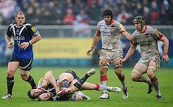 Bath Scrum-Half (#9) Michael Claassens is tackled by Saracens Full Back (#15) Chris Wyles during the first half of the match - Photo mandatory by-line: Rogan Thomson/JMP - Tel: Mobile: 07966 386802 22/12/2012 - SPORT - RUGBY - The Recreation Ground - Bath. Bath Rugby v Saracens - Aviva Premiership.